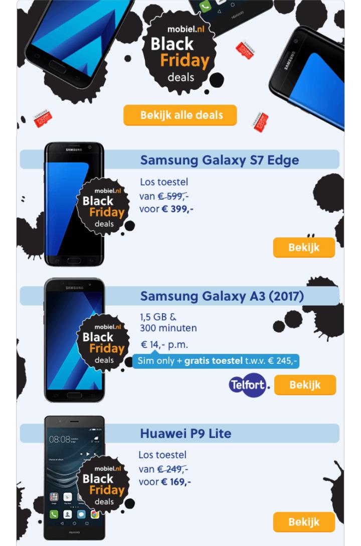 Black Friday bij mobiel.nl! Onder andere Samsung Galaxy s7 edge voor €399