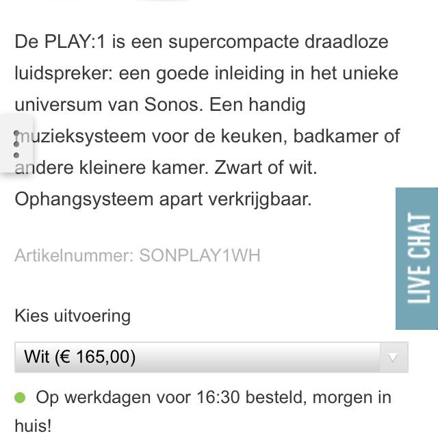 Sonos Play 1 voor €165.- @Hi-Fi Klubben