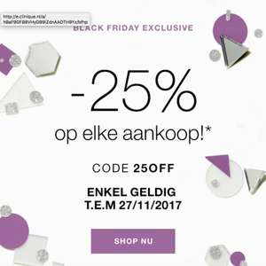 Clinique 25% korting tot en met 27 november