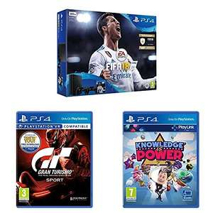 Sony PlayStation 4 Slim (500GB) + FIFA 18 + Extra Dualshock 4 Controller + Gran Turismo Sport + Knowledge is Power @ Amazon UK