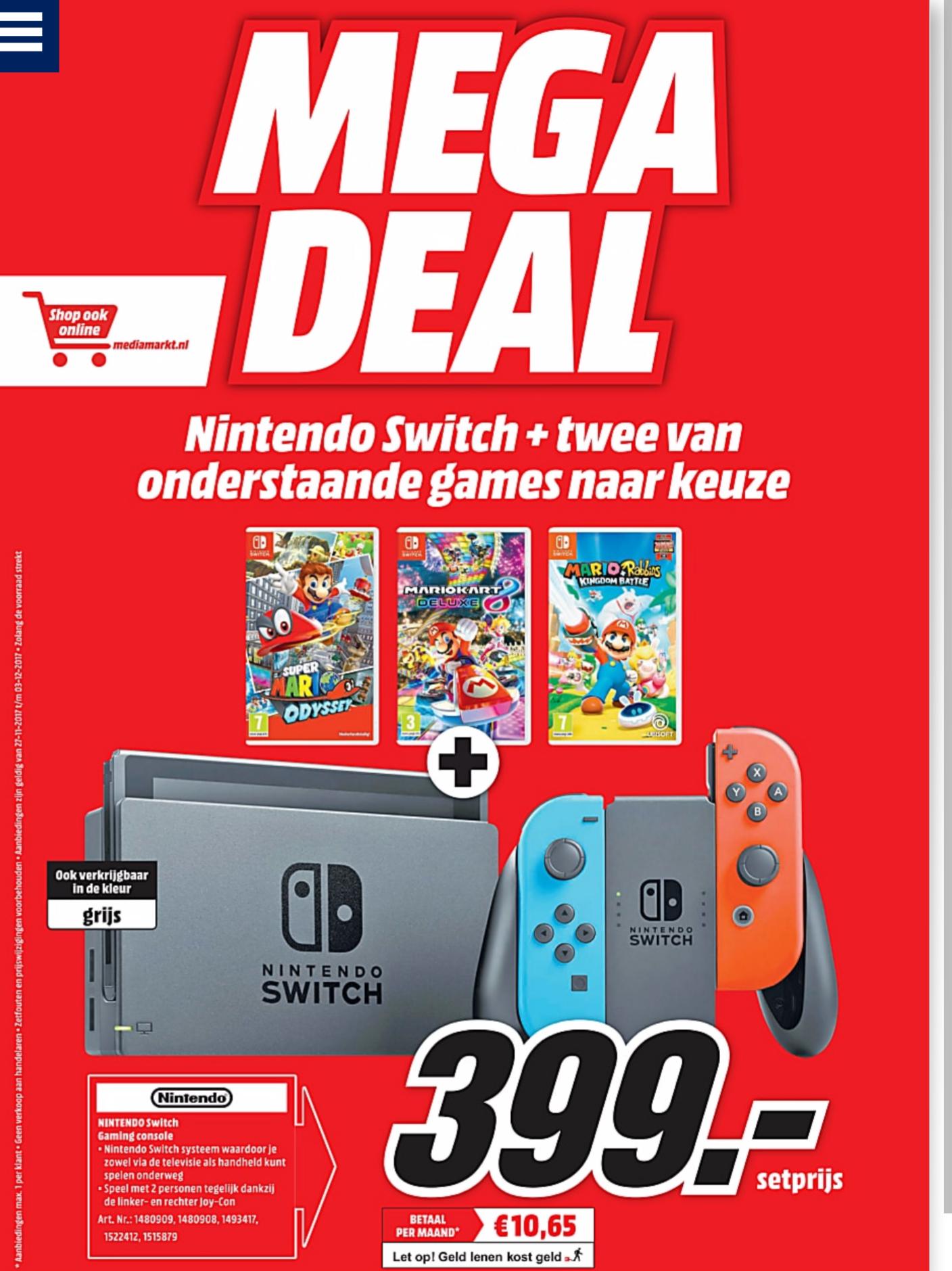 Megadeal: Nintendo Switch met 2 games € 399 @ Mediamarkt