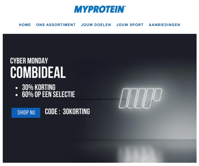 Cyber Monday deal bij Myprotein, 30% korting!