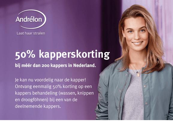 50 % kapperskorting bij 200 kapsalons. kortingsbon te vinden bij Boni, Boon, COOP, Deka, Hoogvliet, Jan linders en Poie