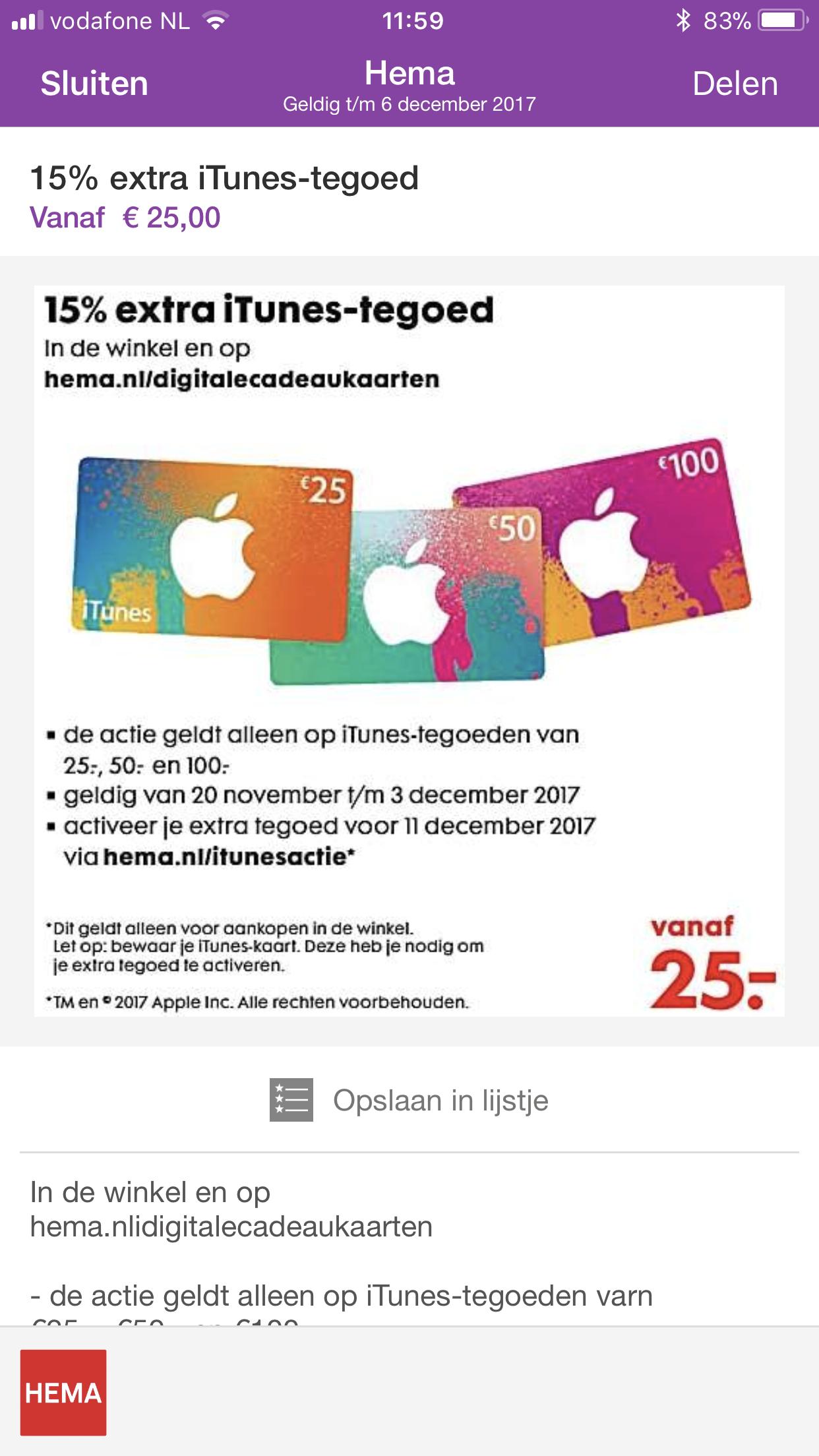 15% extra iTunes-tegoed bij Hema