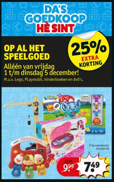 Vrijdag 1-12 t/m di 5-12: 25% extra korting op speelgoed @ Kruidvat