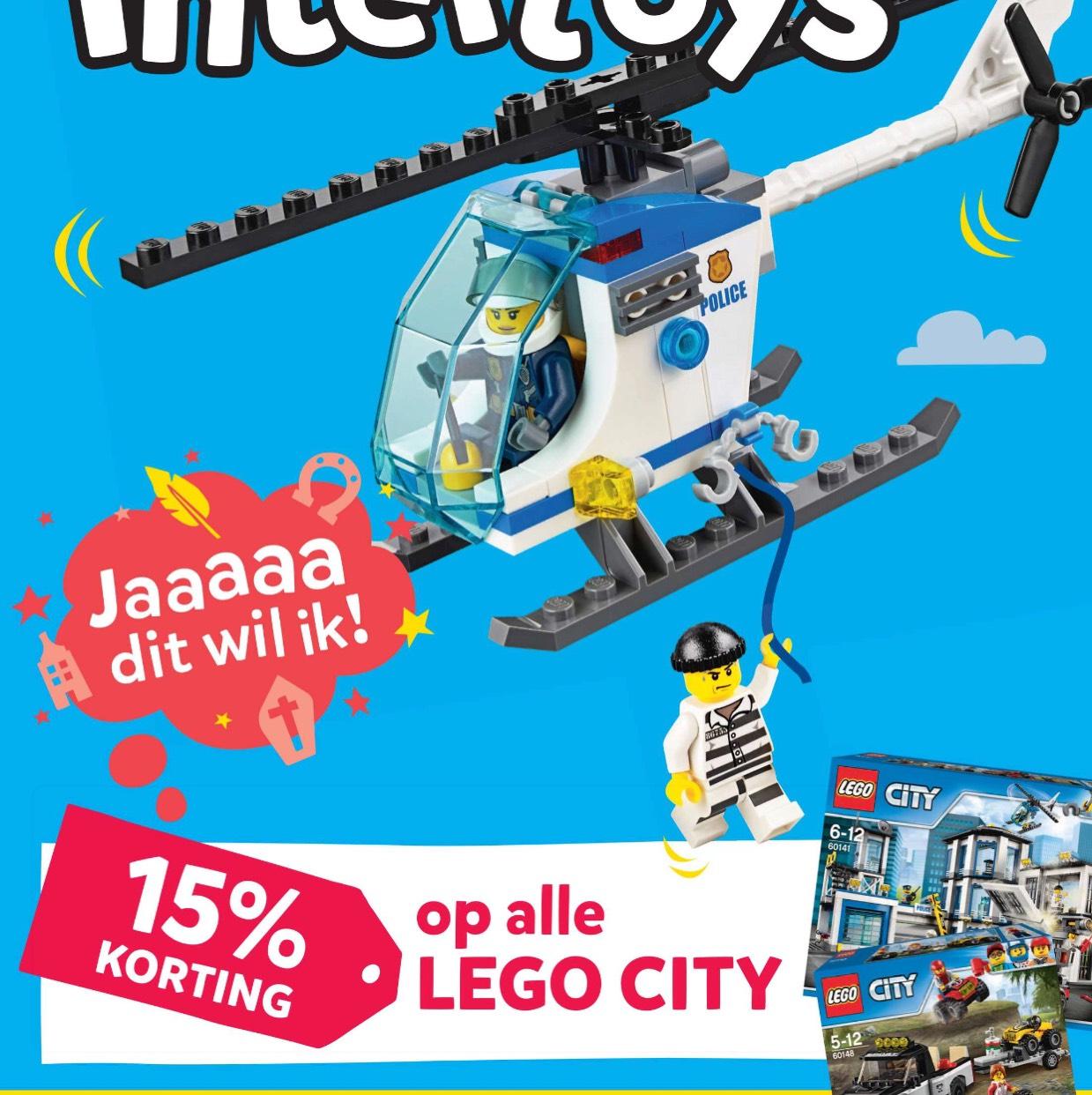15% korting op alle Lego City bij Intertoys