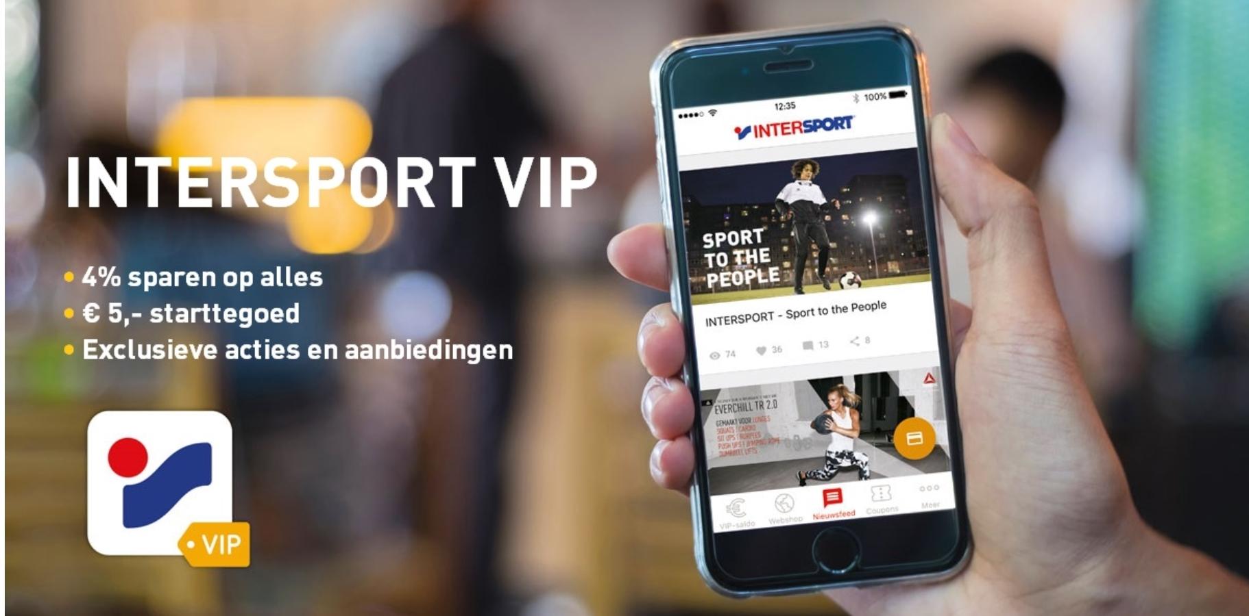 Gratis € 5,- starttegoed zonder minimale besteding @ INTERSPORT VIP-app