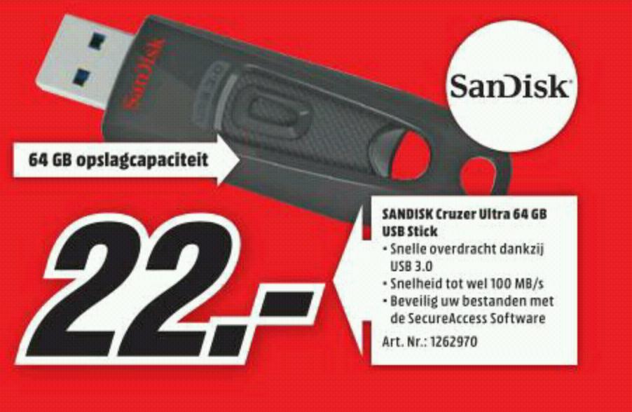 SANDISK Cruzer Ultra USB 3.0 64GB voor €22,- @ Media Markt