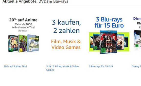 3 halen 2 betalen op geselecteerde games, films en muziek @ Amazon.de