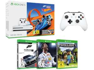 Grensdeal:  Xbox One S 500 GB Forza Horizon 3 Hot Wheels Bundle + Forza Motorsport 7 + FIFA 18 + Minecraft + 2. Wireless Controller (Wit)
