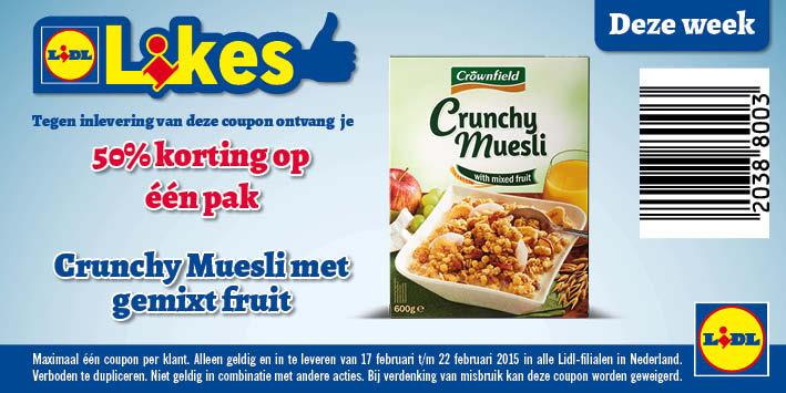 50% korting op Crunchy Muesli met gemixt Fruit door Coupon @ Lidl