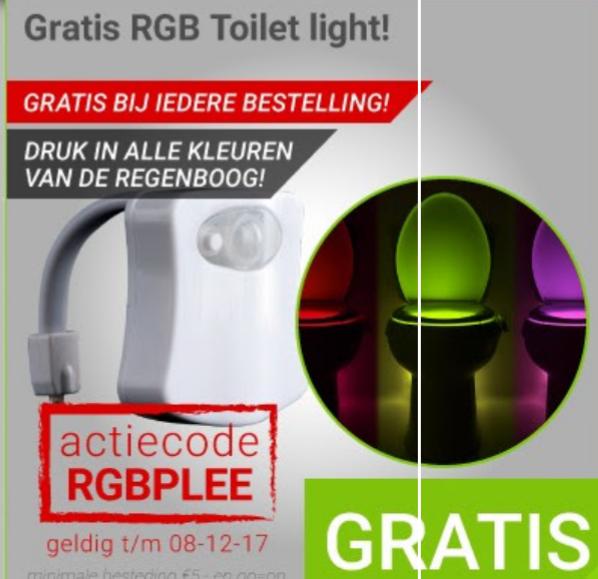 Gratis RGB Toilet Light (motion sensor) /GAP bij iedere bestelling @ Megekko