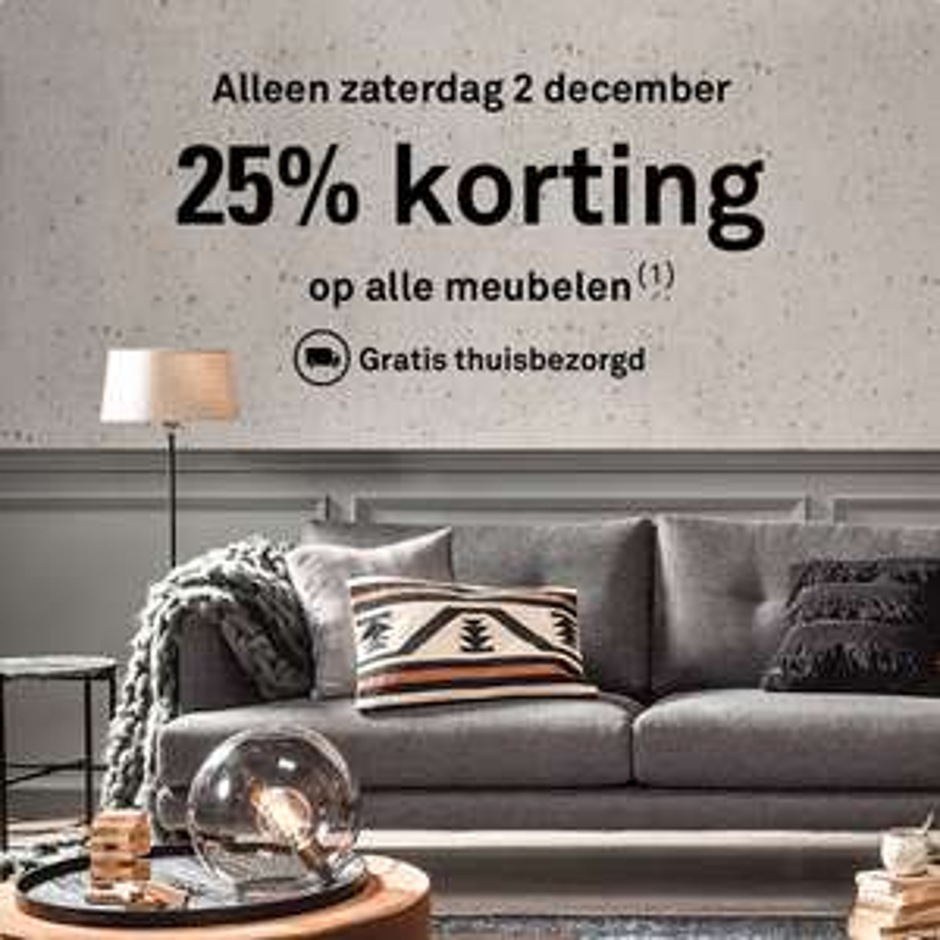 Karwei 25 % korting op alle meubelen + gratis bezorging (zaterdag 2 december)