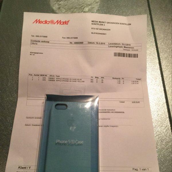 Originele Apple iPhone 5s case voor €1 @ Media Markt Groningen