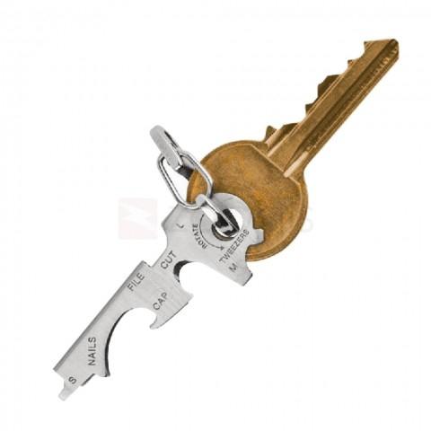 8-in-1 Multifunctionele roestvrijstalen sleutelhanger met flesopener