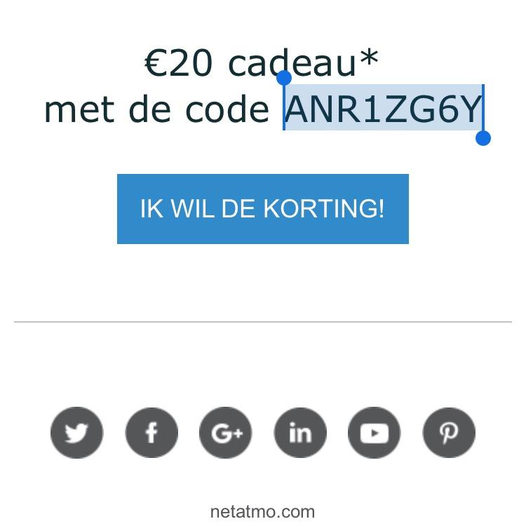 Netatmo 20€ korting