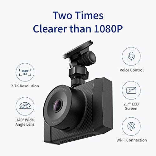 Yi Ultra 2.7K Dashcam met gratis Yi bewaking IP camera 720p