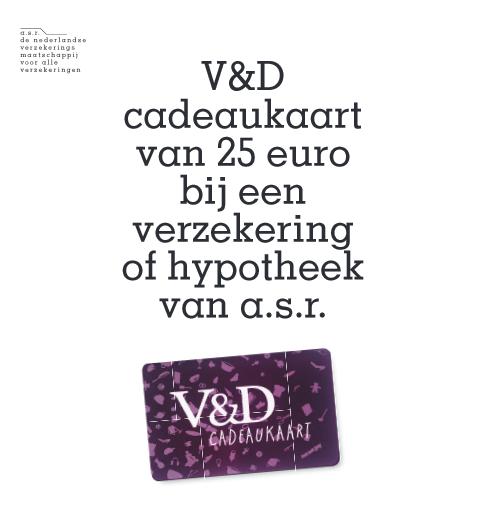 Gratis V&D cadeaukaart t.w.v. €25 als je gratis een rekening opent of een hypotheek/verzekering afsluit @ Asr