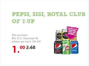 PEPSI, SISI, ROYAL CLUB OF 7-UP 4 blikjes voor 1 euro