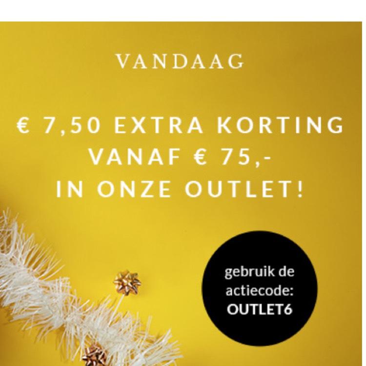 € 7,50 korting vanaf € 75 op outlet @ Brandfield
