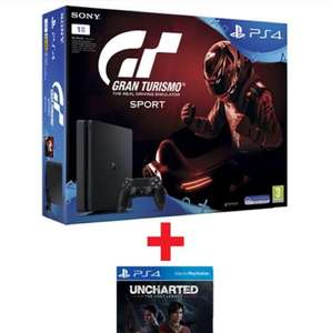 PlayStation 4 Slim 1TB Black + Gran Turismo Sport + Uncharted - The Lost Legacy voor € 335 @Gamemania