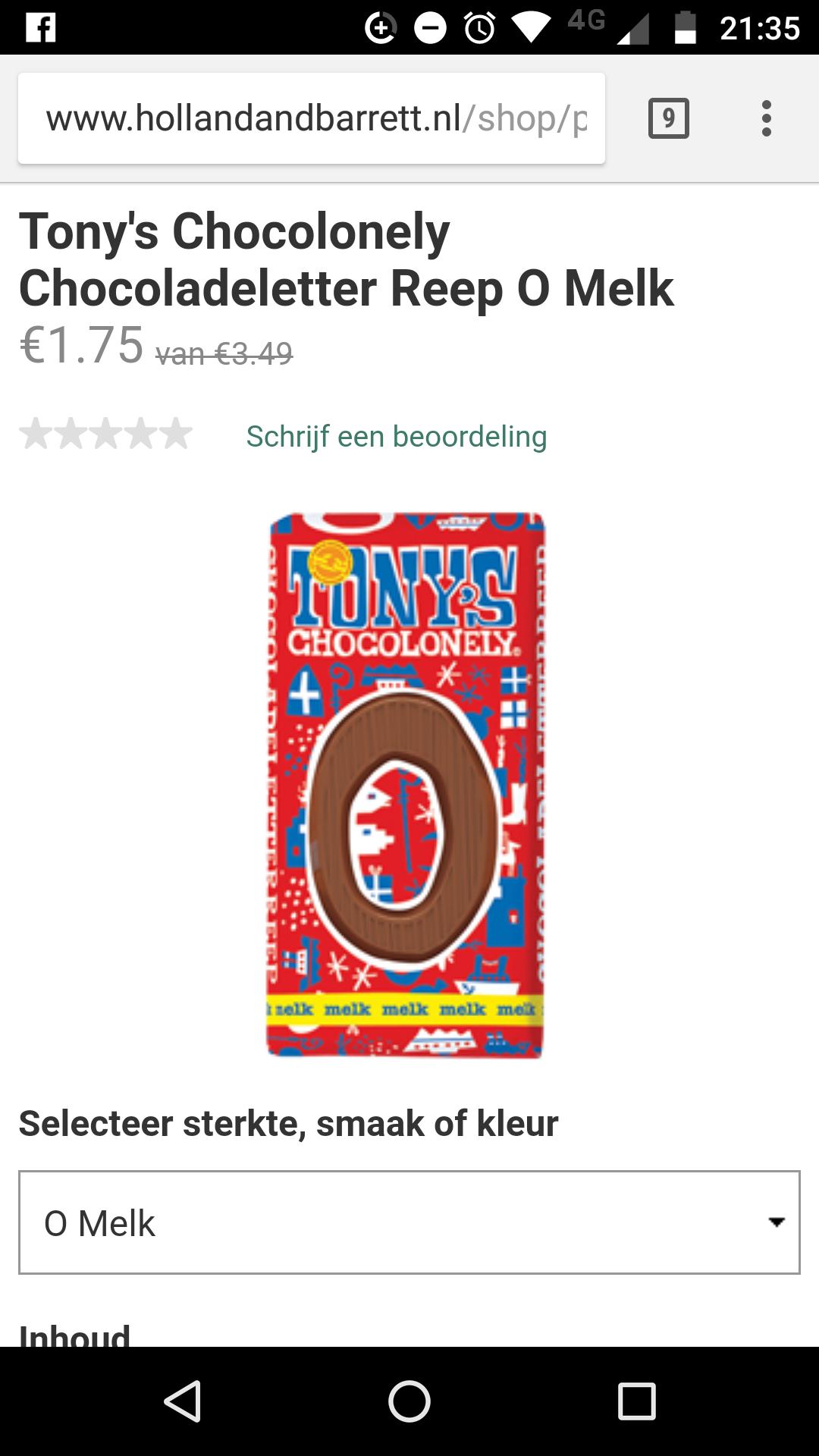 Tony's chocolade letter reep melk/puur voor 1,75 @ Holland Barret