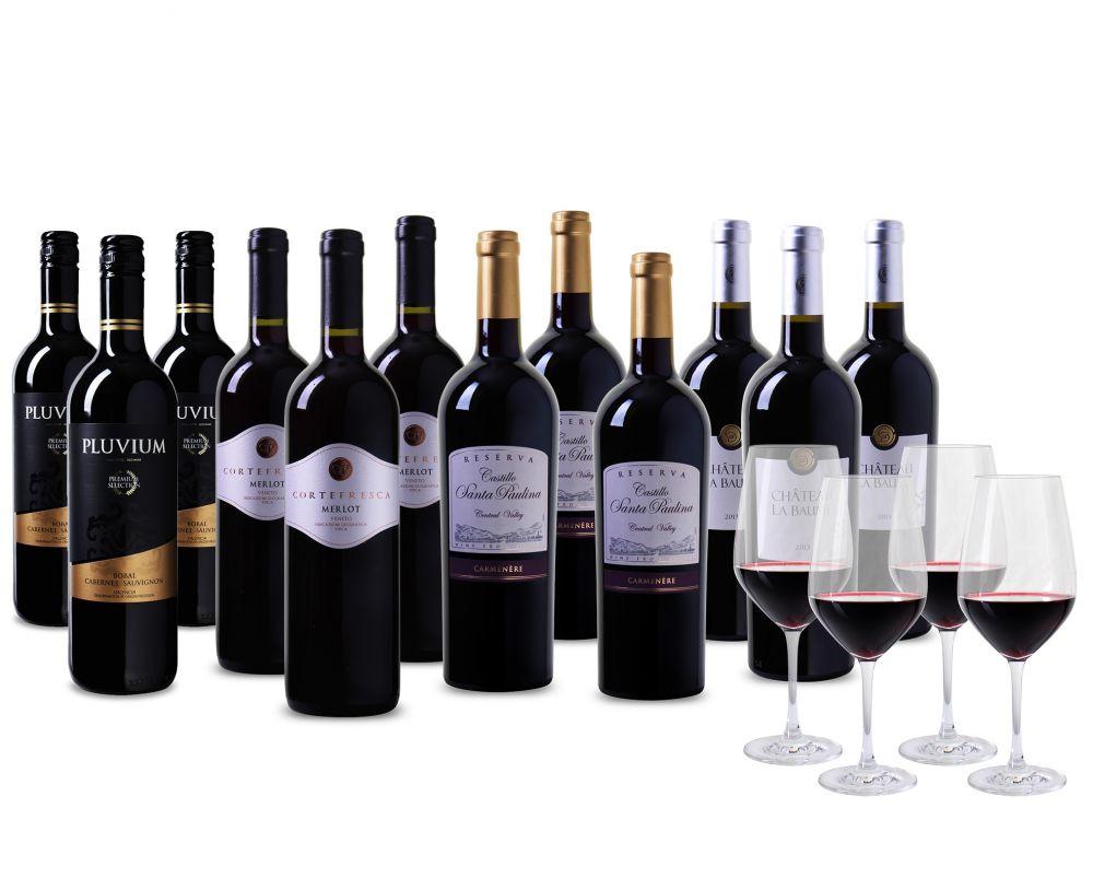 Grand Prestige Pakket - 12 flessen rode wijn en 4 luxe Schott Zwiesel glazen  t.w.v. € 34,- en gratis! verzending - wijnvoordeel