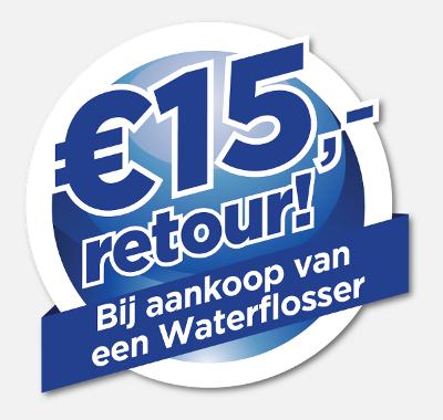 15 euro cashback bij Waterflosser of een Sensonic elektrische tandenborstel van Waterpik®
