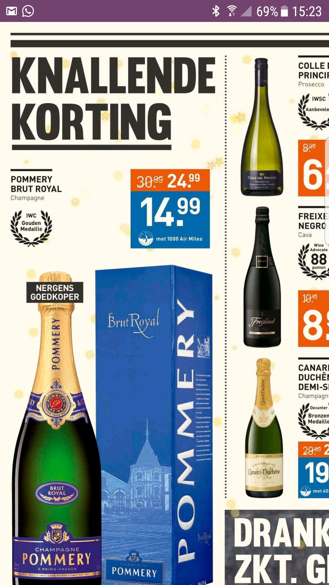 Champagne 50%korting met airmiles