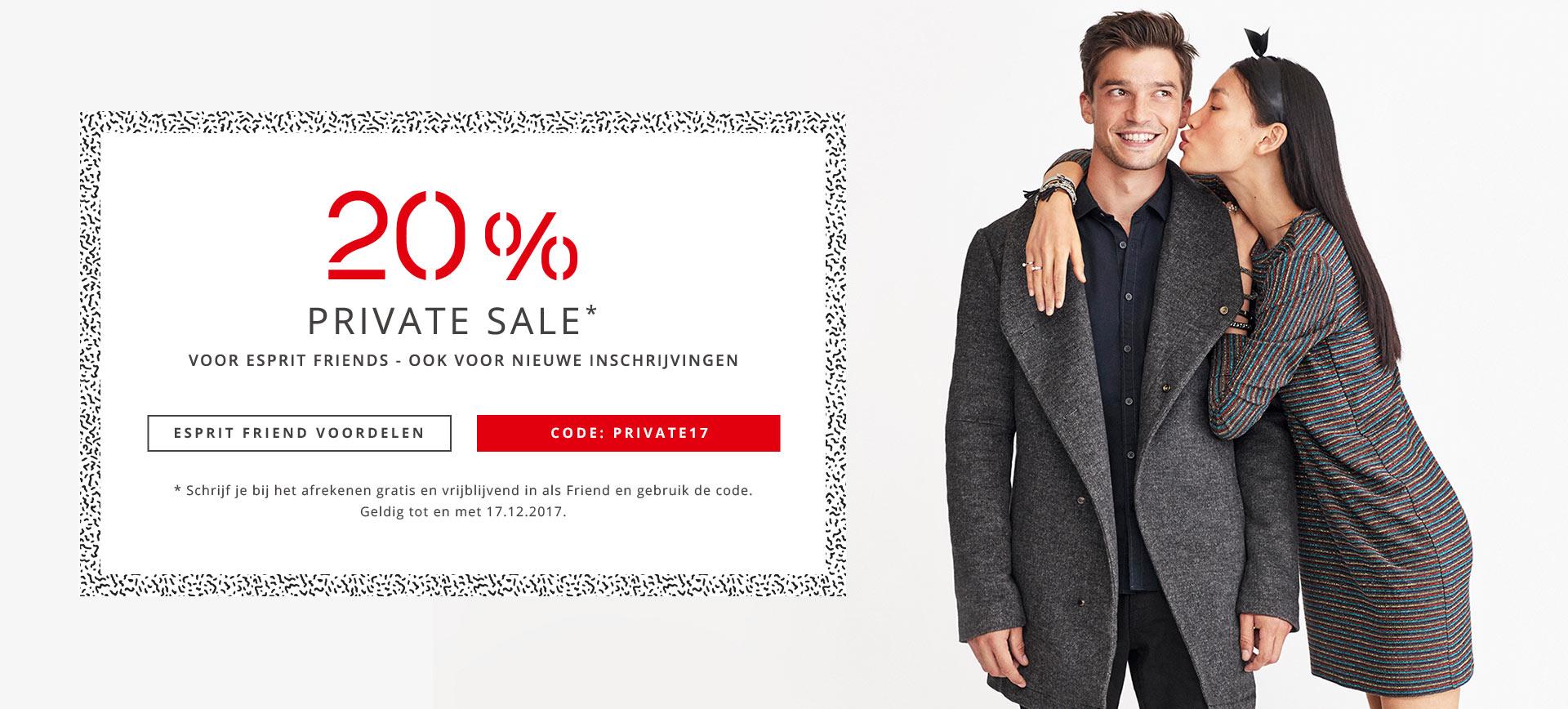 20% korting, ook op Sale voor bestaande en nieuwe Esprit Friends