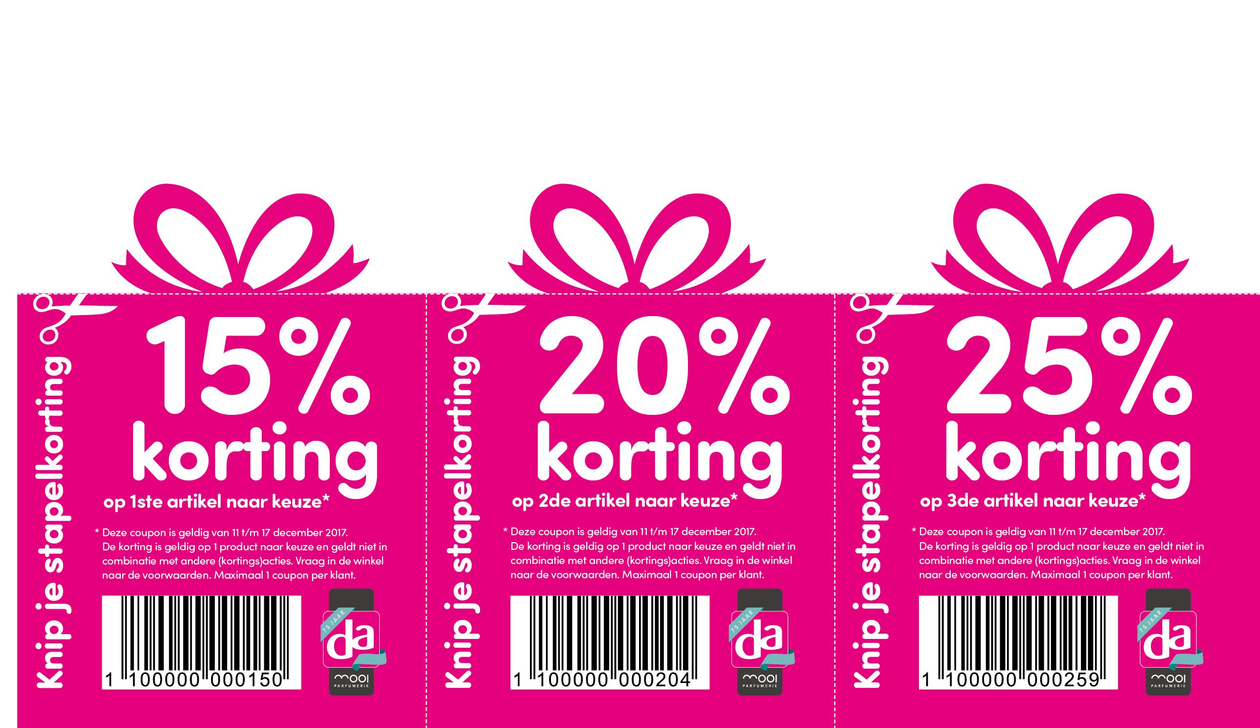Kortingsbonnen tot 25% korting @ DA winkels