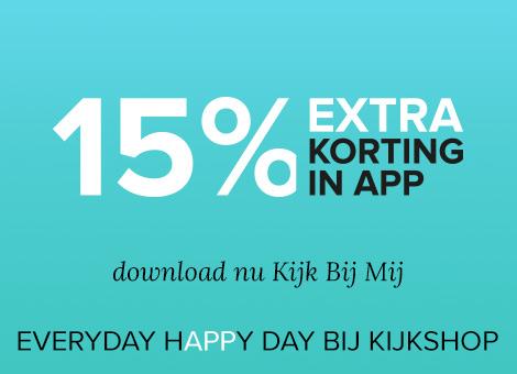 15% en €5 (v.a. €50) korting  @Kijkshop app
