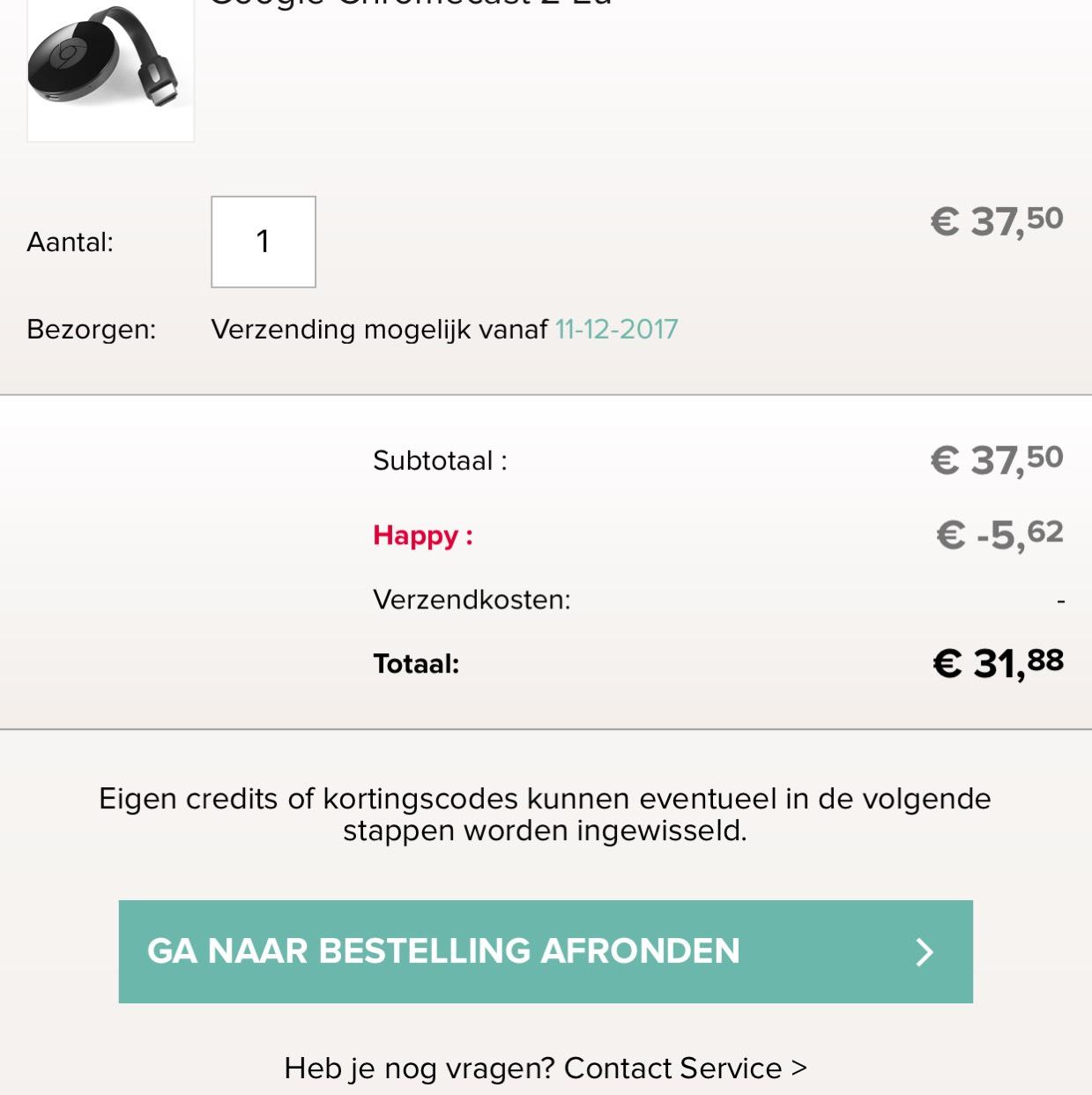 Chromecast 2 15% extra korting @ Kijkshop App