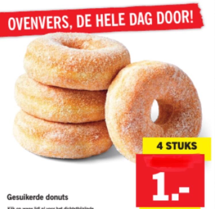 4 donuts voor €1 bij Lidl