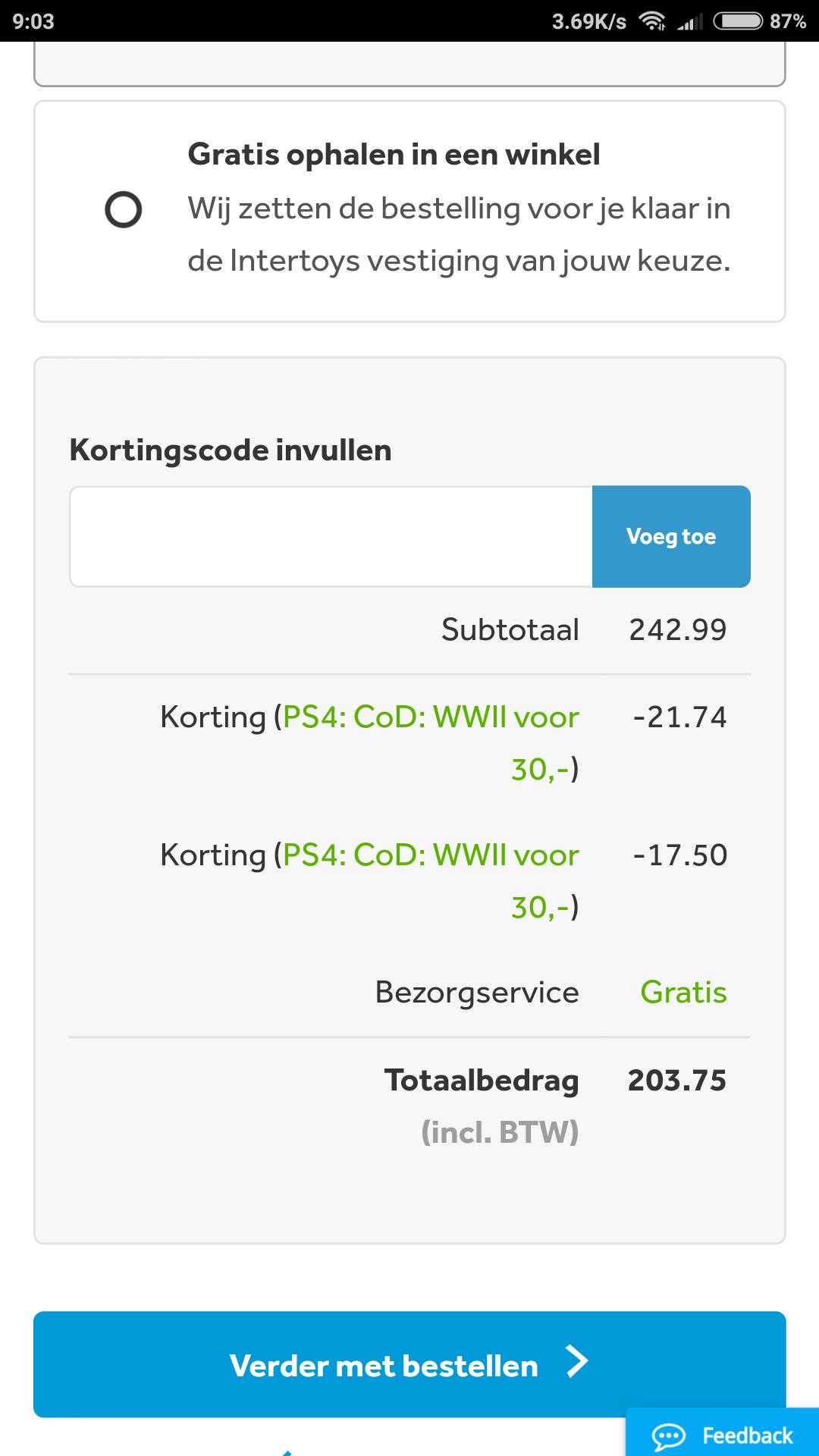PS4 + COD WWII voor € 203,75