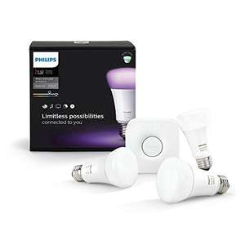Philips Hue White and Color Starter Pack (E27, 3 lampen, met Bridge 2.0) voor €116,85 @ Amazon.fr