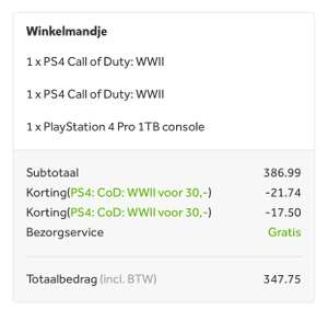 [PRIJSFOUT] Playstation Pro 1TB Zwart met 2x Call of Duty: WWII voor 347.75 @ Intertoys