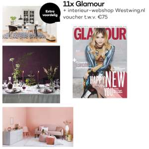 11x Glamour + Westwing cadeaubon t.w.v. €75 voor €30 @ Glamour