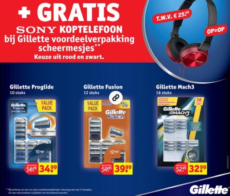 Kruidvat gratis Sony koptelefoon bij Gillette