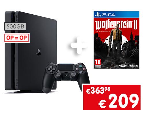 PS4 Slim 500GB + Wolfenstein 2 voor €209 @ Gamemania