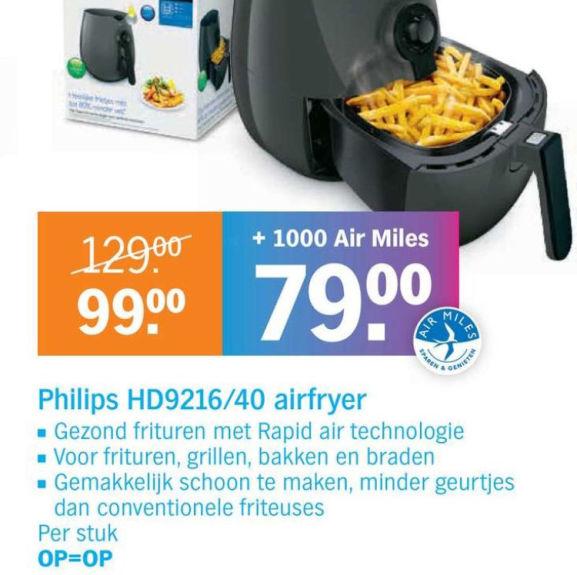 Philips Airfryer HD9216/40 voor €79 + 1000 airmiles @ AH