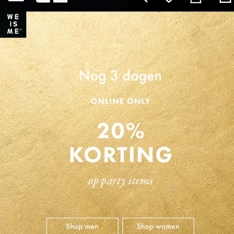 20% korting op party items van WE
