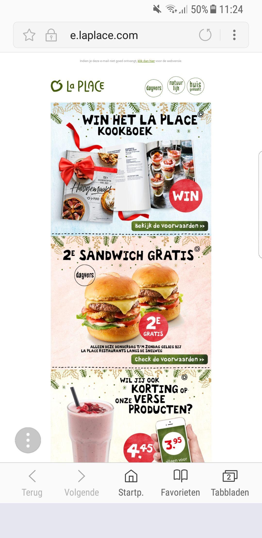 2e sandwich gratis bij La Place