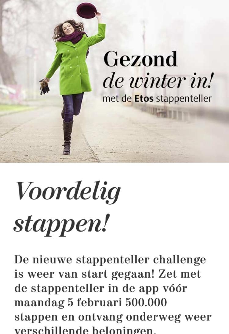 Gratis producten (wattenstaafjes, shampoo, voetencrème, vit. C) @ etos stappenteller challenge