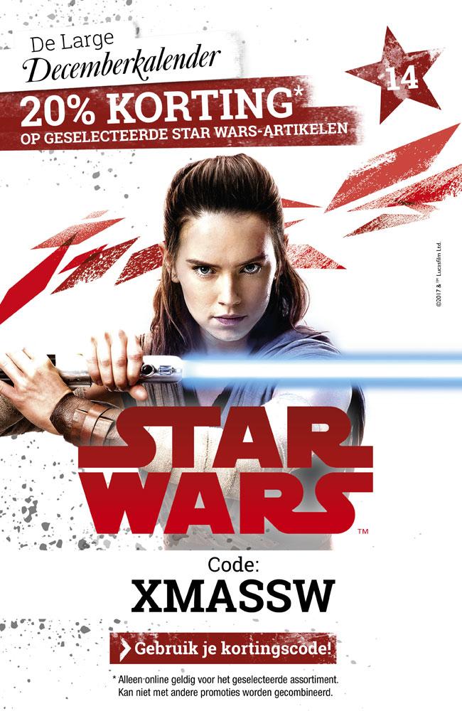 20 % korting op geselecteerde Star Wars artikelen bij LARGE