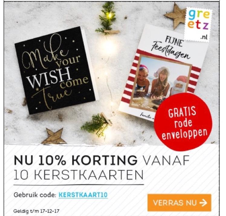 10% korting vanaf 10 kerstkaarten bij Greetz + gratis rode enveloppen