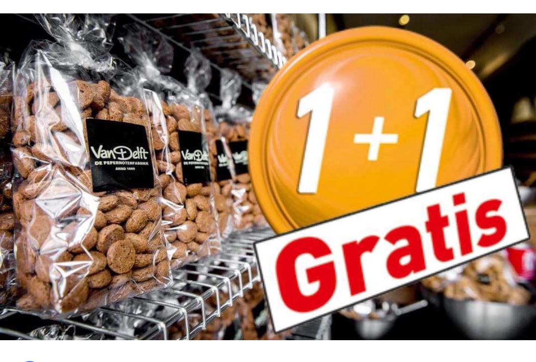 1+1 gratis bij de van Delft Pepernotenfabriek