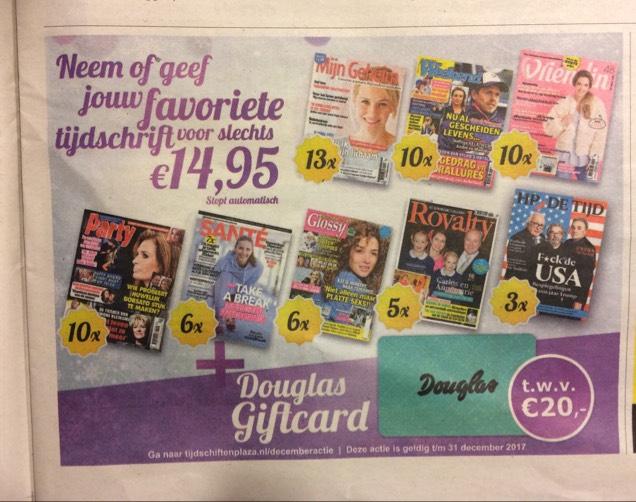 Douglas kadokaart van 20 euro bij een abonnement