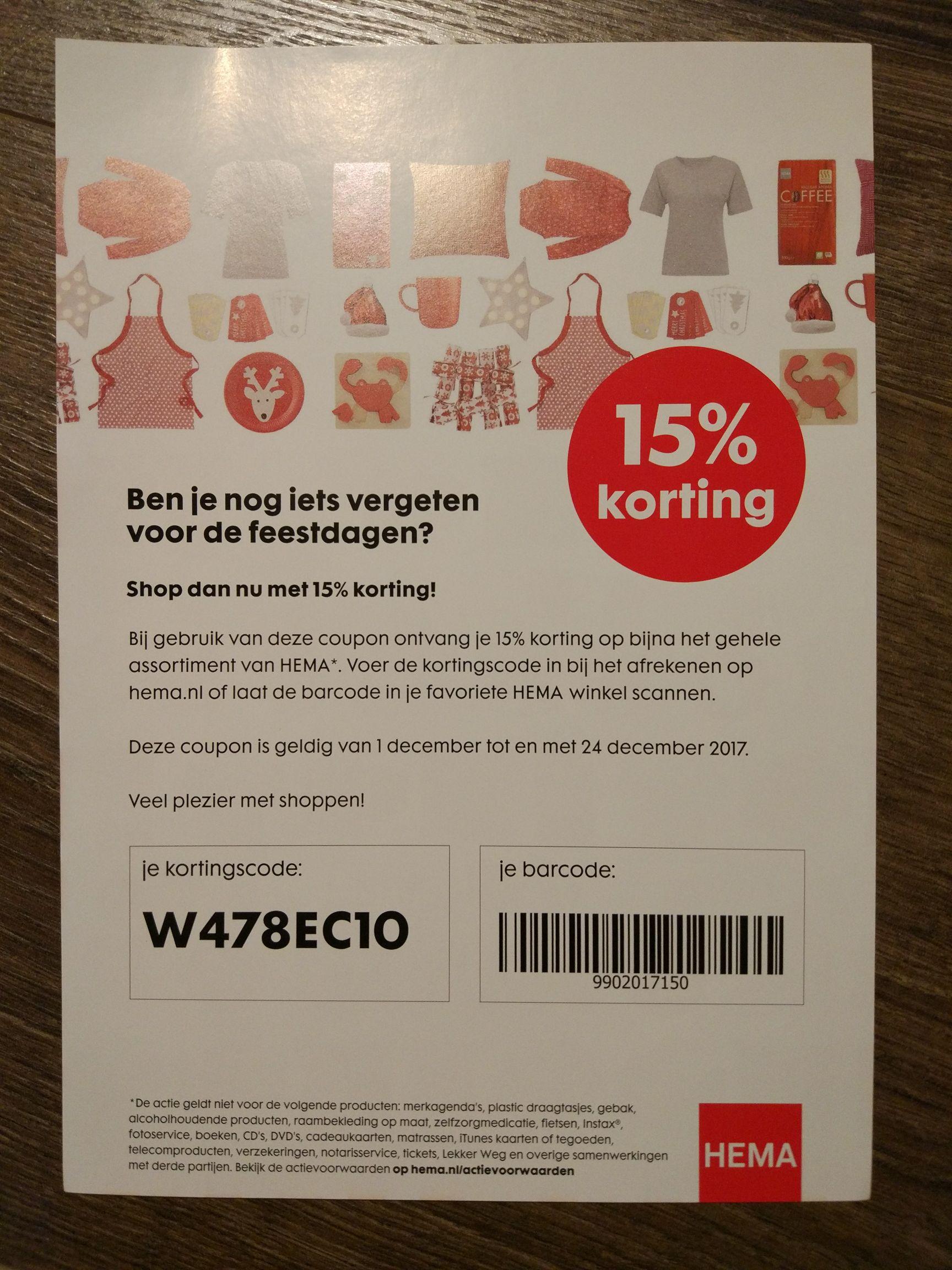 HEMA, 15% korting online en in de winkel