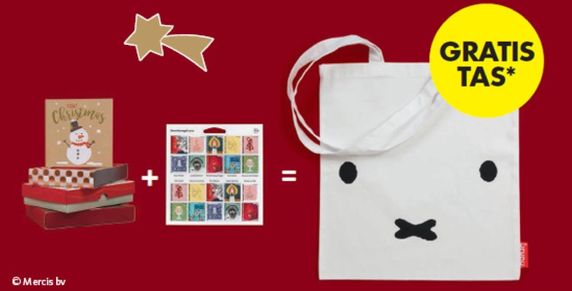 Gratis Nijntje tas bij aankoop van € 10,- aan kerstkaarten en een velletje decemberzegels